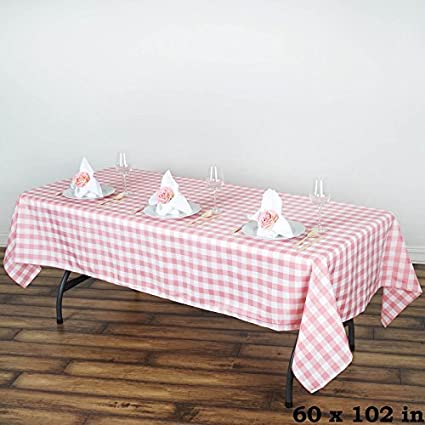 BalsaCircle 60 Inch X 102 Inch Rose Quartz Pink Gingham Checkered Polyester Tablecloth  Table