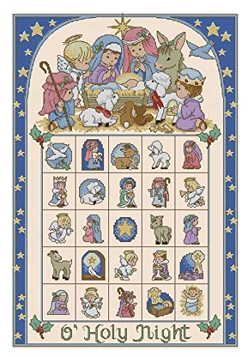 - Zamtac Gold Collection Chic Counted Cross Stitch Kit O' Holy Night Advent Calendar dim 08762 8762 Angel and Baby - (Cross Stitch Fabric CT Number: 14CT unprint Canvas)
