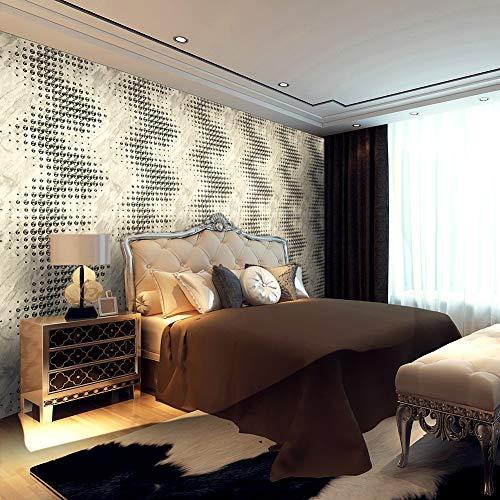 - 3151 Modern Art Metal Dots Wallpaper Rolls, Silver/White Vinyl Wall Paper Murals Bedroom Living Room Hotels Wall Decoration 20.8