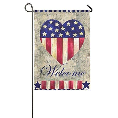 WYIZYIQA Welcome Fourth Of July American Pride Garden Flag Y