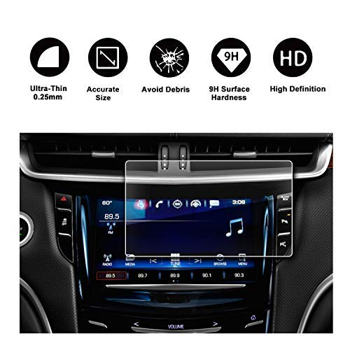 2015-2018 Cadillac XTS 8In Display Navigation Screen Protector, R RUIYA HD Clear Tempered Glass Screen Guard Shield Scratch-Resistant Ultra HD Extreme Clarity