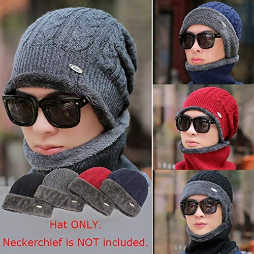 Romacci Men Knitted Beanies Hat Winter Warm Plush Fleeces Lined Dome Thick Cable