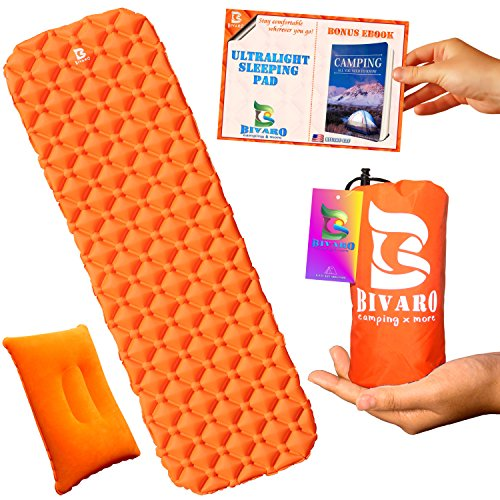Ultralight Sleeping Pads (Bivaro Ultralight Sleeping Pad for Backpacking ,Travel and Hiking + Lightweight Pillow + Ebook • Complete Bundle. Waterproof Camping Mattress Best for Sleeping Bag,Hammock and Tent.Useful Everywhere)
