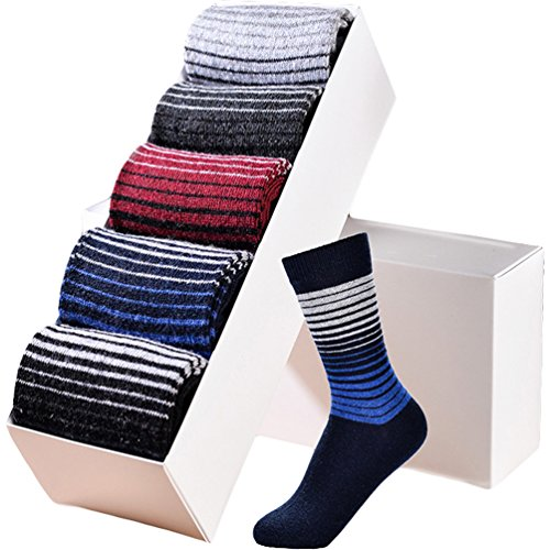 L04BABY Mens 5 Pack Mix Color Argyle Winter Warm Thick Wool Dress Socks Gift Box