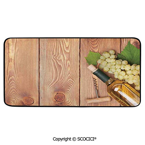 (Soft Long Rug Rectangular Area mat for Bedroom Baby Room Decor Round Playhouse Carpet,Winery Decor,Wine Bottle and Bunch of Grapes on Wooden Table,39