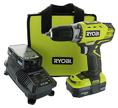 Ryobi P1811 One Compact Drill Driver Kit 5 Piece Bundle 1x P208 Drill Driver Power Tool, 2x P102 18 Volt Battery, 1x P118 18 Volt Battery Charger, 1x Lime Green Ryobi Tool Bag