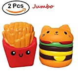 Slow Rising Squishies Toys,BYETOO 2 PCS Kawaii Jumbo Cat Hamburgers&Fries Set Scented Vent Charms Kid Toy Hand Toy,Stress Relief Toy,Decorative Props Doll Gift Fun Large ( Hamburgers&Fries )