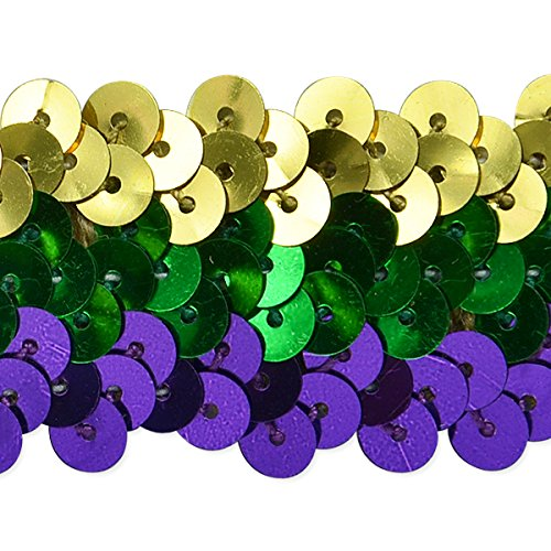 Expo International 1-1/4-Inch 3-Row Metallic Mardis Gras Stretch Sequin Trim Embellishment, 20-Yard, Multicolor by Expo International