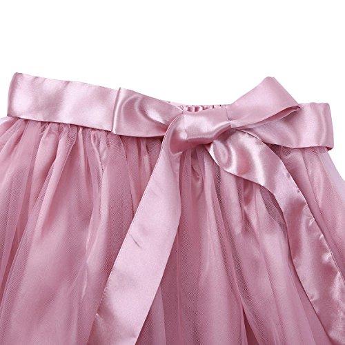 Jupe Taille Satin t Haute Jupe lgante Basique de Cocktail Line Vintage Tulle Grande Boho Plisse Fille Rose Soire Femme Jupon Patineuse iiniim A Casual Courte Uni pvgqT