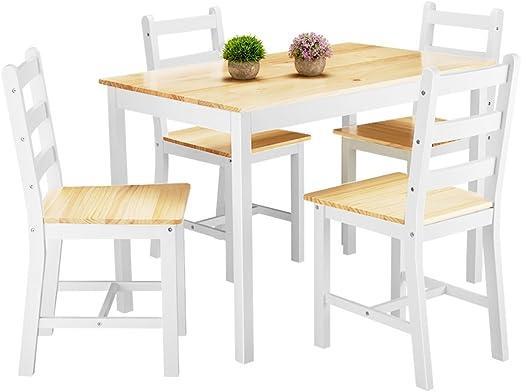 Anaelle Panana - Conjunto de mesa de madera y 4 sillas para ...