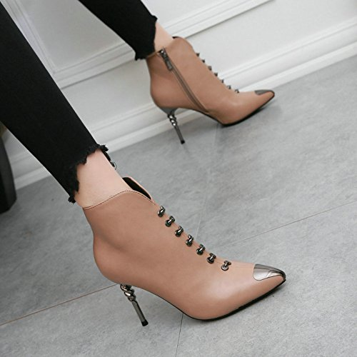 With Boots Shoes Pointed Pu Boots Martin Metal Ladies Female Shoes Female Fashion bare Leather With Spiral Fine A New Style Heeled High Pieces Boots AJUNR British SntqOn
