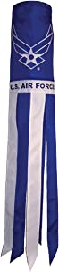 In the Breeze U.S. Air Force Wings 40 Inch Windsock - Military Service Hanging Decoration - Durable Embroidered Design