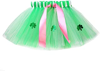Amosfun St Patricks Day Tutu Gonna Girl Ballerina Gonna Costume Shamrock Trifoglio Bow Danza Gonna per Neonate Neonati 30cm S4J152218M