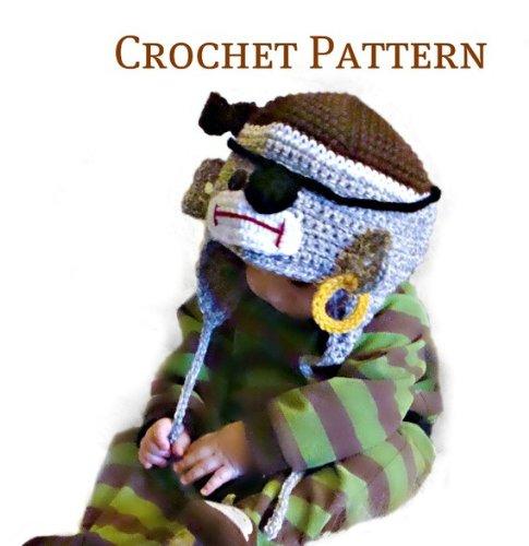 Crochet Sock Monkey Pattern - Pirate Sock Monkey Hat to crochet pattern