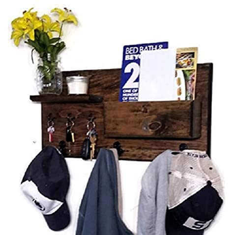 Renewed Décor Hamilton Elite Wall Mounted Organizer features 3 double coat hooks, 3 key hooks, display shelf along with a mail holder. Available in 20 - Coat Center