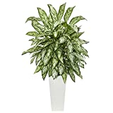 Nearly Natural Silver Queen Artificial Plant in White Tower Planter, Green