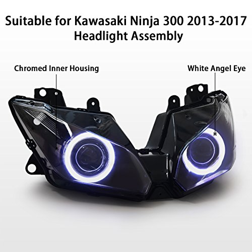 KT Headlight Assembly for Kawasaki Ninja 300 Ninja 250 2013-2018 V1 White Angel Eye