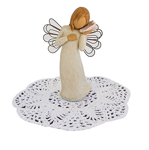 Willow Tree Angel Figurine with Doily (Thinking of You)