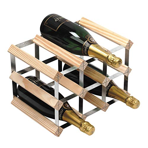 RTA 9 Bottle Traditional Wine Rack-Fully Assembled-Natural Pine (FSC)