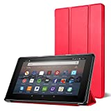 All-New Fire 7 Tablet Case, DTTO Ultra Slim Cover Case for All-New Fire 7 Tablet (7th Generation, 2017 Release), Anti-Scratch Trifold Cover, Full Protection, Punch Red