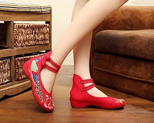 scarpe Scarpe a tendina da etnico xiuhuaxie stile ballo red comode scarpe donna moda GuiXinWeiHeng ricamate da suola 8qH4F1wUW