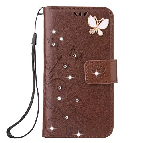 (LG K20 Plus Case, LG K10 (2017) Fashion 3Dhandmade Bling Diamond Butterfly Flower Wallet Case Flip Folio [Kickstand Feature] PU leather wallet case with Card Holder For LG K10 2017 (Brown))