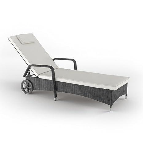 Tumbona polirratán con ruedas tumbona para jardín silla reclinable silla de playa incl. antracita