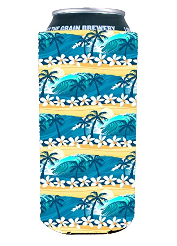 Coolie Waves Tropical Beach Pattern 16 oz.  Can Coolie