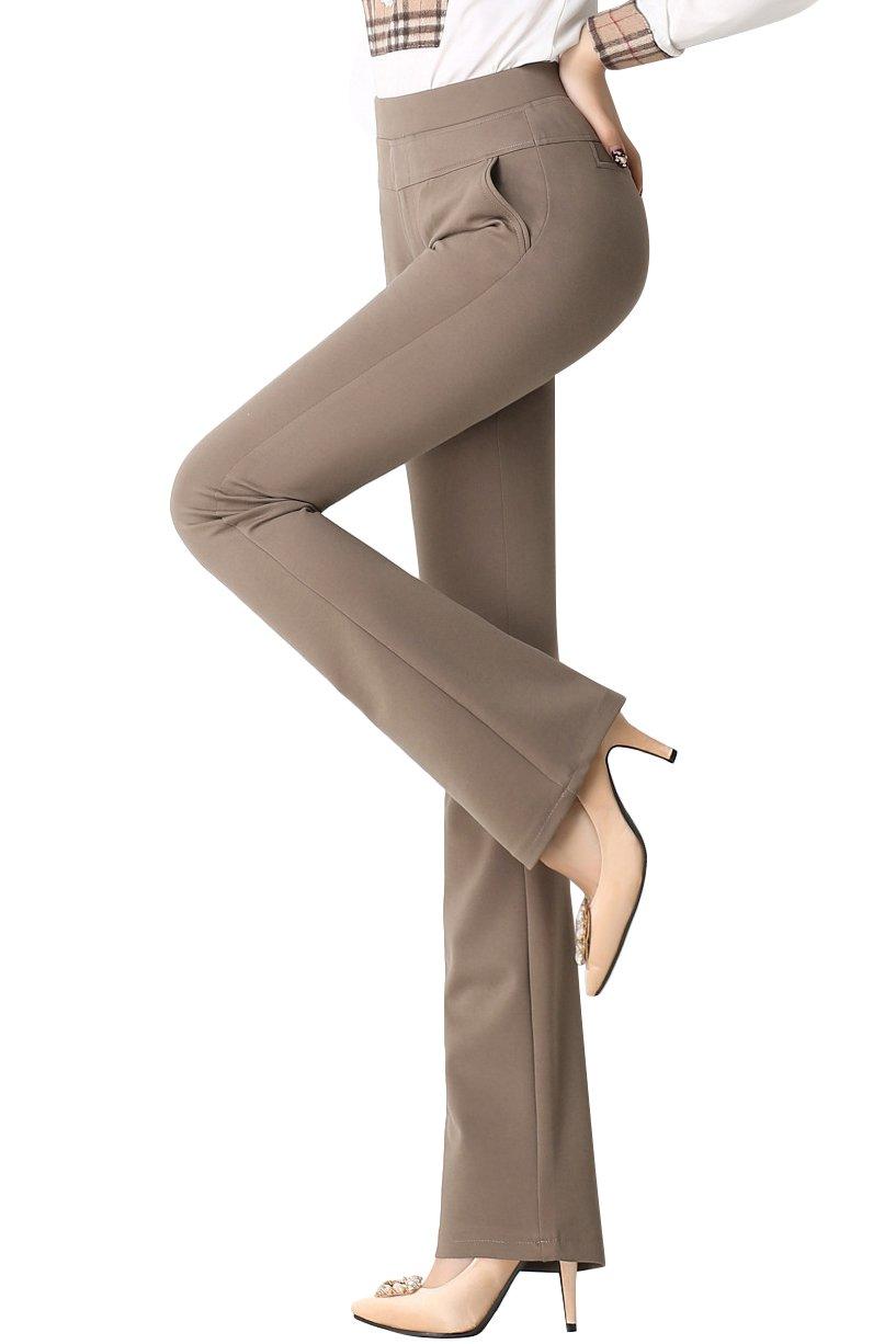 Smibra Womens Stretch Knit High Waist Bootcut Super Comfy Dress Long Pants