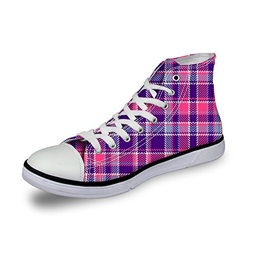 Bigcardesigns Unisex Casual High Top Retro Canvas Skate Shoes Plaid Sneakers Purple CfIxmeKC0