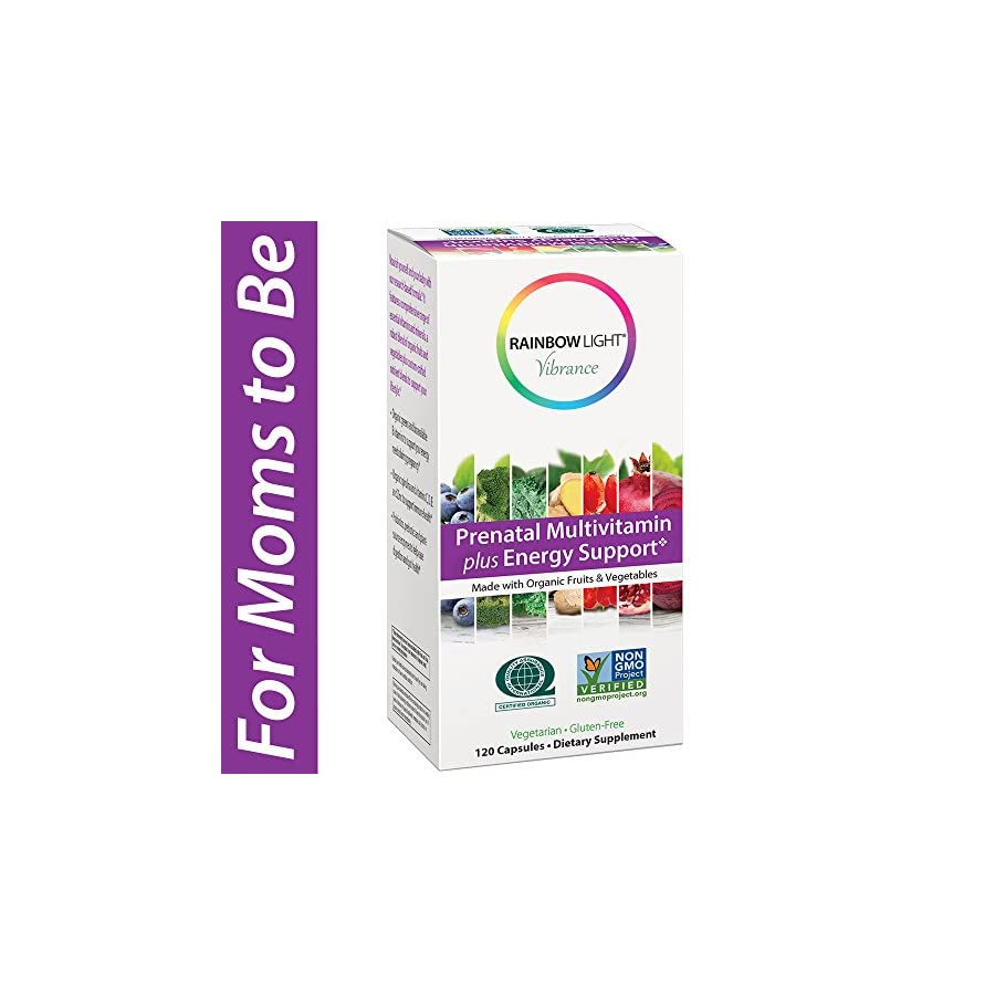 Rainbow Light Vibrance Prenatal Multivitamin Plus Energy Support, Made with Organic Fruits & Vegetables, Supports Baby's Brain and Spinal Development, Enhances Digestion, 120 Count