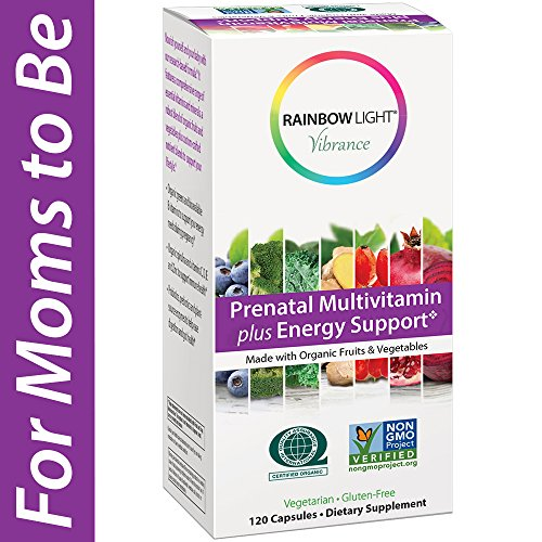 Rainbow Light Vibrance Prenatal Multivitamin Plus Energy Support, Made with Organic Fruits & Vegetables, Supports Baby's Brain and Spinal Development, Enhances Digestion, 120-Count (Plus Rainbow Light)