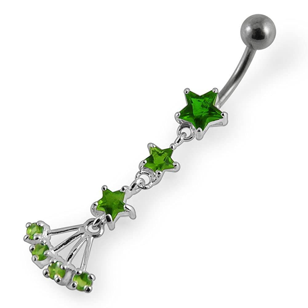 AtoZ Piercing Fancy Multi Star Dangling 925 Sterling Silver with Stainless Steel Belly Button Rings