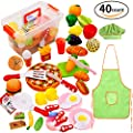 Play Food Set for Kids 40 Pieces Pretend Food Playset Kitchen Cooking Sets Toys for Educational Learning Fake Plastic Foods for Toddlers Kids Girls Boys Inspiring Imagination with a Storage Container
