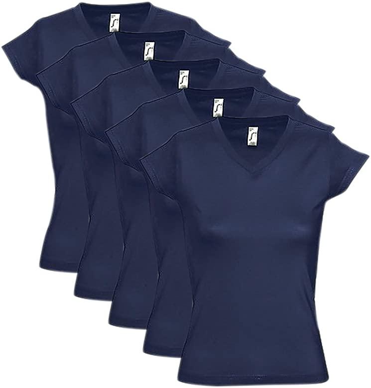 SolS - Lote de 5 Camisetas de Manga Corta para Mujer (Azul Marino ...