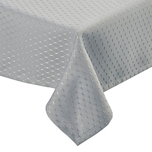VEEYOO 60 x 84 inch Waffle Jacquard Rectangular Polyester Spillproof Tablecloth for Restaurant Party Venue, Silver (Jacquard Tablecloth 60x84)