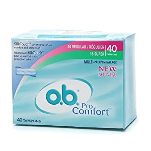 o.b. Pro Comfort Non-Applicator Tampons, Value Pack, Multi Pak 40 ea