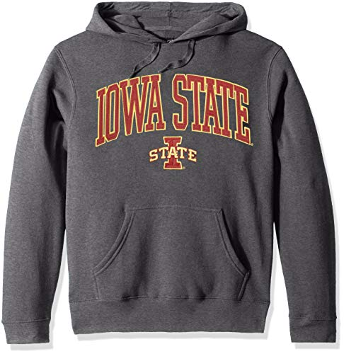 Top of the World NCAA Men's Iowa State Cyclones Applique Arch Over Hoodie Charcoal Heather Large