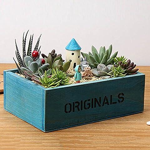 Retro Nostalgic Style Wooden Succulent Plants Flower Pot Garden Handmade Planting Flowerpot (Random: - Ceramic Tortoise Vases