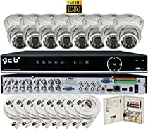 CIB Security H80P16K2T03W-8KIT-W 16CH 1080P Video Security DVR, 2TB HDD & 8x2.1-MP 1920TVL Night Vision Camera, White