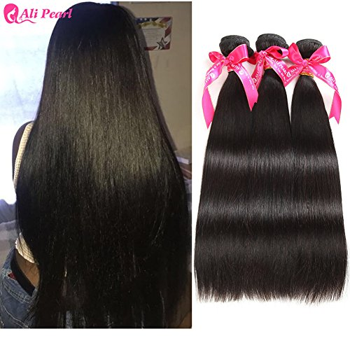 Ali Pearl Brazilian Virgin Human Hair 3 Bundles Unprocessed Straight Hair 3 Bundles Hair Extentions Wholesale Hair Deal (16 16 16)