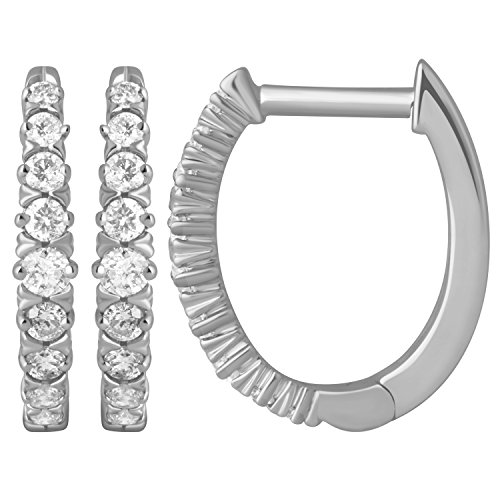 Diamond 1 4ct Hoop Earrings in 10K White Gold