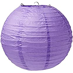 "Traditional Hanging Round Lantern Party Decoration, New Purple, Paper , 9"", Pack of 3"