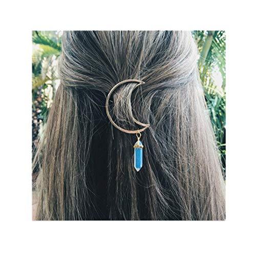 LIEJIE Bracelets For Women Clamp Hairpin Vintage Moon Quartz Hexagon Prism Alloy Hair Clip Stone Pendant Charms (Watermelon Red) ()