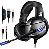 ONIKUMA Gaming Headset - Headset Gaming Headphone for PS4, Xbox One (Adapter Need), Nintendo Switch (Audio) PC Gaming Headset with Crystal Clear Sound, LED Lights & Noise-canceling Microphone (K5-N)