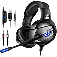 ONIKUMA Gaming Headset - Headset Gaming Headphone for PS4, Xbox One (Adapter Needed), Nintendo Switch (Audio) etc. PC Gaming Headset with Crystal Clear Sound, LED Lights & Noise-canceling Microphone