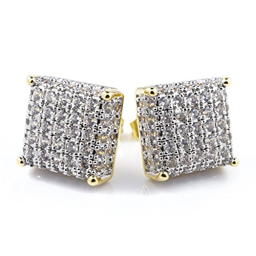 18K Gold Plated ICED OUT Micropave Stud CZ Earring (Mens Iced Out Bling Earrings)