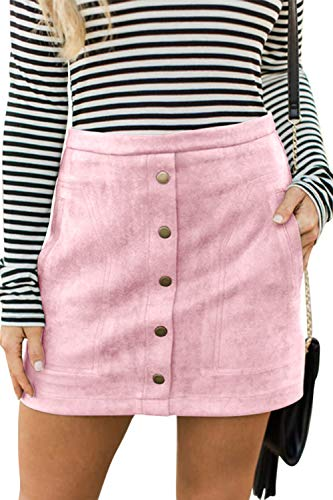 - Meyeeka Plain Solid Mini Skirt for Women,Vintage Button Front A-line Skirt with Pocket M Pink