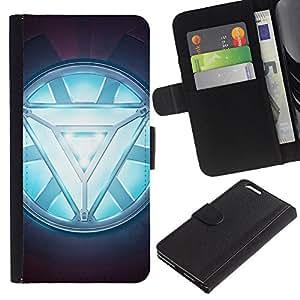 YiPhone /// Tirón de la caja Cartera de cuero con ranuras para tarjetas - ARC REACTOR GLOW - Apple Iphone 6 PLUS 5.5
