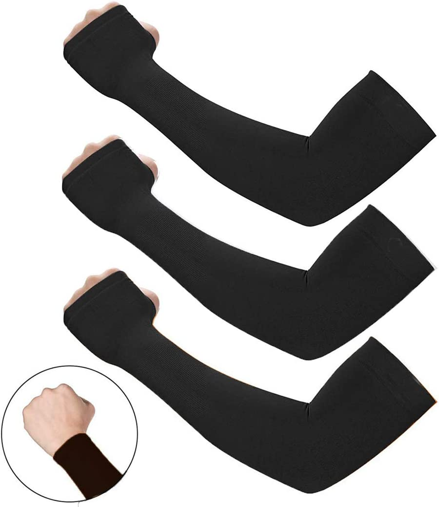 UV Sun Protection Cooling Arm Sleeves Arm Sleeves for Men Women Sun Sleeves Black Arm Sleeves for Cycling Golf Outdoor Sports (3 Pack of Black)